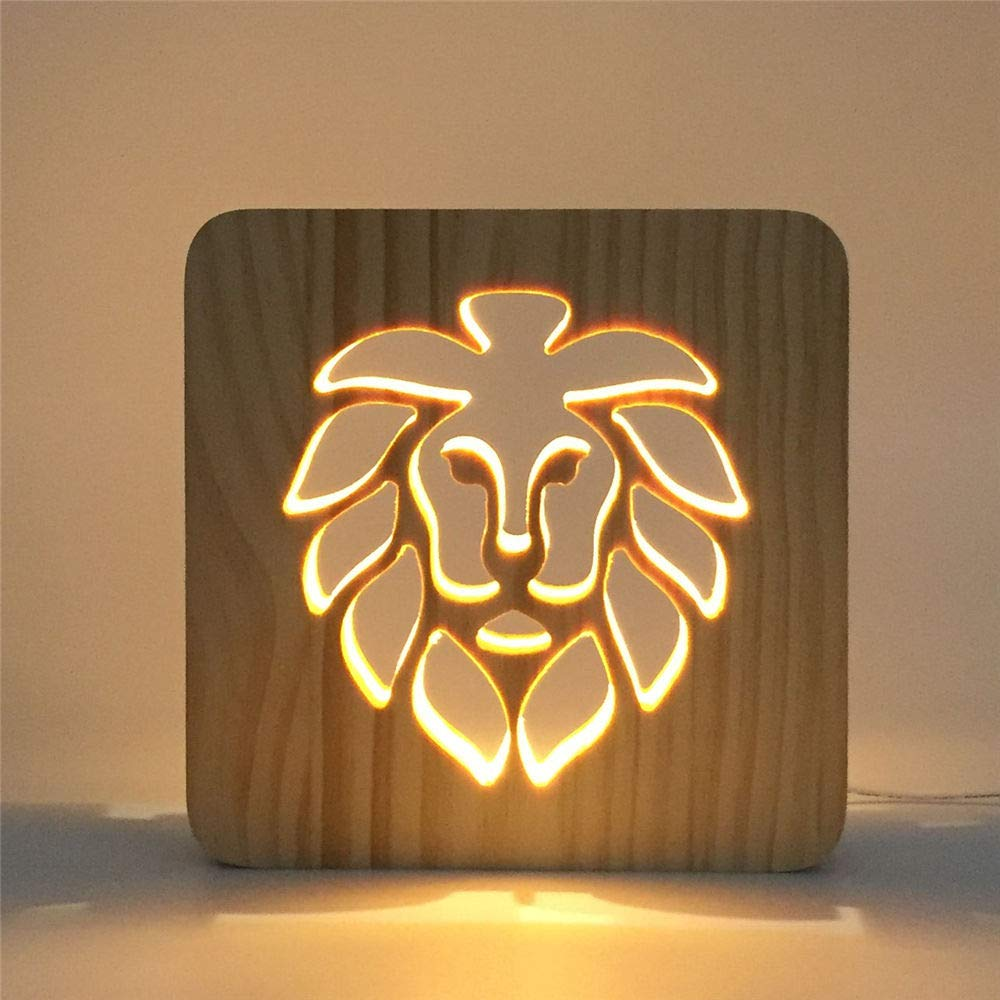 AYWJ Creative Foot Shape Wooden Led Light 3D USB Hollow Out Bedroom Night Light Decoration Home LED Lamp Children Baby, D