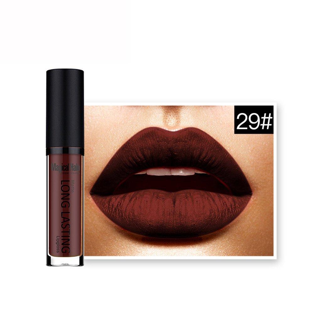 Ourhomer  Clearance Sale Magical Halo Waterproof Matte Liquid Lipstick Long Lasting Lip Gloss Lipstick (L)