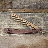 Wood Straight Razor Beard Comb - Handmade and Personalized - Maple and Bamboo Hardwoods