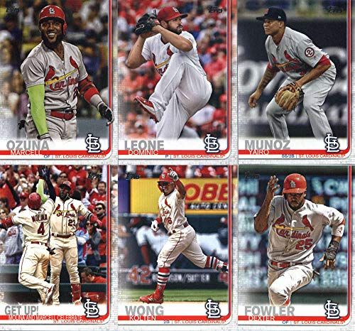 2019 Topps Series 2 Baseball St. Louis Cardinals Team Set of 11 Cards: Dominic Leone(#384), Yairo Munoz(#466), Dexter Fowler(#488), Marcell Ozuna(#503), Marcell Ozuna/Benji Molina(#536), Michael Wacha(#541), Kolten Wong(#551), John Gant(#634), Tyler O'Neill(#655), Adam Wainwright(#679), Dakota Hudson(#697)
