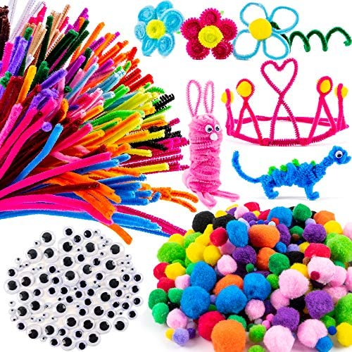 Fun DIY Art 6 mm x 12 Inch VICOVI 200 PCS Pipe Cleaners Craft in 10 Colors Chenille Stems with 20 Pom Poms /& 60 Wiggle Eyes for DIY Art Creative Crafts Decorations School Projects