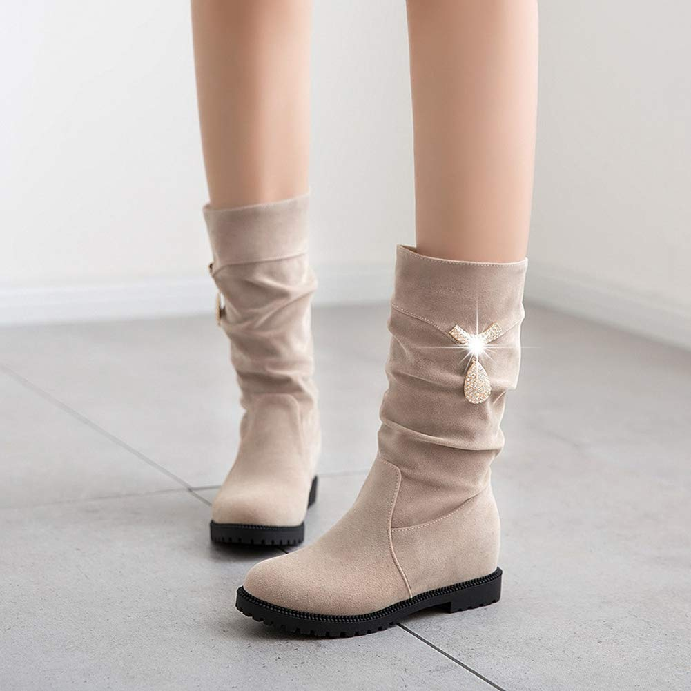 T-JULY Womens Fashion New Boots Black Red Beige Autumn Winter Ladies Height Increasing Flock Bling Mid Calf Shoes
