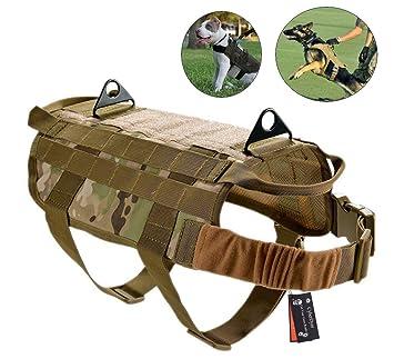 CyberDyer - Chaleco táctico para Perro, arnés Molle, Patrulla Militar, K9, con asa para Tirar, 4 tamaños, para Perros pequeños y Grandes: Amazon.es: ...
