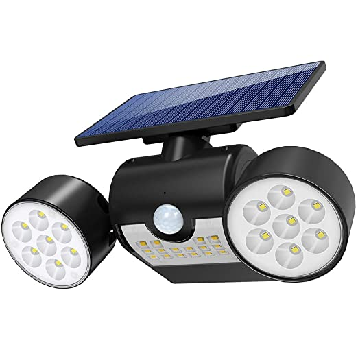 Lampara Solar Foco Solar Exterior Apliques de Pared con Ultra Brillante 30 LED, Funciona de