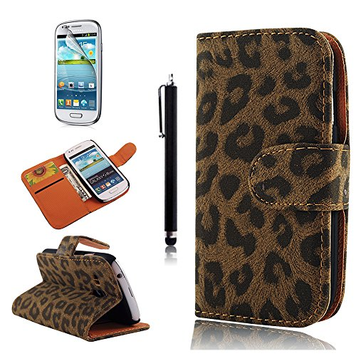 (NOT for S3)Mavis's Diary for Samsung Galaxy S3 Mini 8190 Classical Leopard Print Magnetic Clasp Credit Card Pockets Design Leather Folio Wallet Case Cover (Package Includes: One Phone Case,One Soft Clean Cloth, One Screen Protector, One Stylus Touch Pen) (Brown)