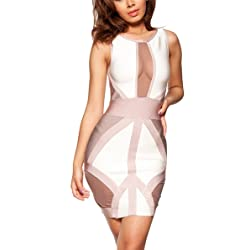 Women's rayon Bandage Bodycon Dress from Alice & Elmer (white/nude colorblock)