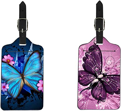 Bigcardesigns Luggage Tags Butterfly Designs Travel Baggage Lables Pu Leather Tags Boarding Card 2pcs Set Suitcases