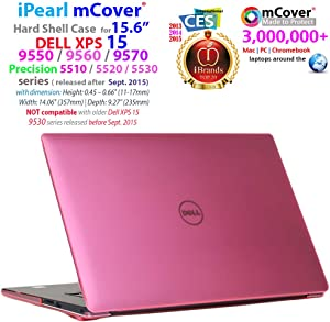 "iPearl mCover Hard Shell CASE for 15.6"" Dell XPS 15 9550/9560 / 9570 / Precision 5510/5520 / 5530 Series (Released After Sept. 2015) Laptop Computer - Pink"