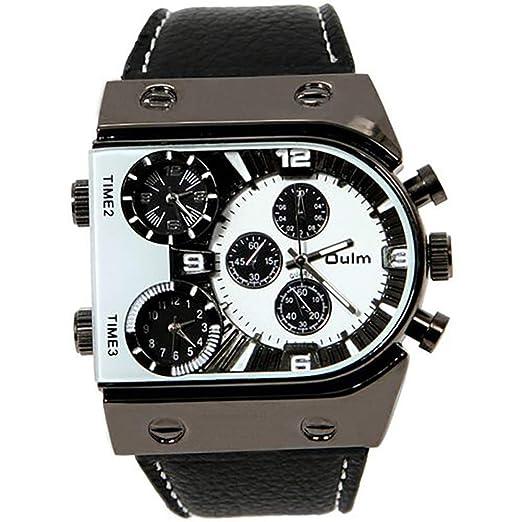 Relojes Hombres Oulm 9315 Cuarzo Casual Cuero Correa Reloj de Pulsera Deportes Multi-Time Zona Ejército Militar Hombre Reloj Hombre: Amazon.es: Relojes