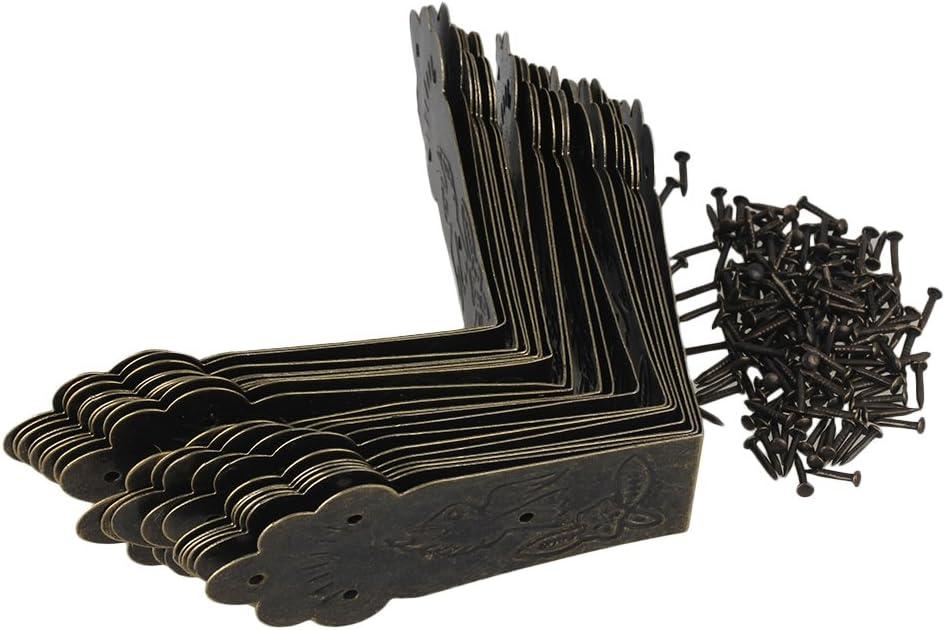 RDEXP Decorative Bronzy Metal L Size Table Leg Corner Cover Guard Pack of 20