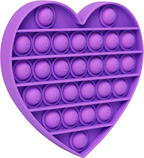 Push Pop Bubble Pop It Fidget Toy Heart Purple Sensory Toy Stress Reliever, Autism Special Needs Fidget Toys for Anxiety & ADHD, Silicone Squeeze Autism Toy