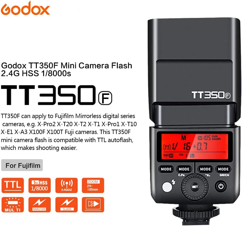GODOX TT350F TTL Mini Flash Speedlight with X1T-F Trigger for Fuji Fujifilm Cameras 2.4G Camera Flash GN36 1//8000s HSS Wireless