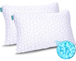 2-Pack Cooling Bed Pillows for Sleeping Adjustable Gel Shredded Memory Foam Pillows Queen Size Set of 2 - Luxury Bamboo Pillo