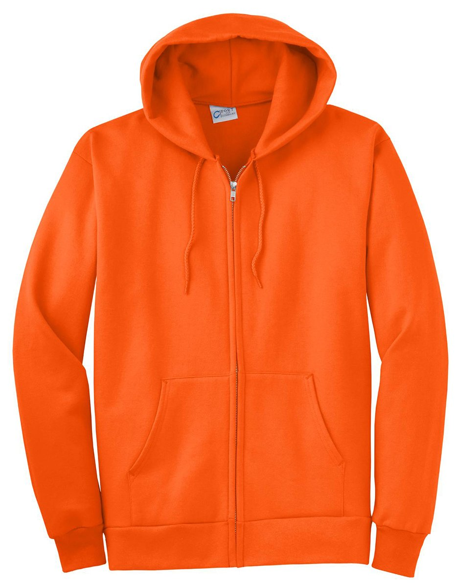 Port & Company Men's Big And Tall Full-Zip Hooded Sweatshirt Safety ORNG