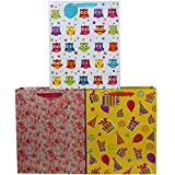 Fzopo 12 Pcs Large Gift Bags with Tags for Kids, Birthday, Baby Shower, Wedding, All Occasion, Assorted Colors (Owl, Rose, Yellow)
