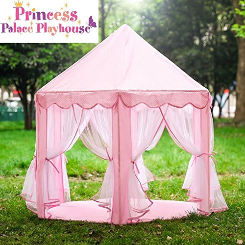 Great Divide Fabric (Princess Palace Playhouse Play Castle Huge Play Tent Kids Castle Fort for Children Girls with Storage Bag for Both Indoor and Outdoor Use (Star Lights Optional), Pink)