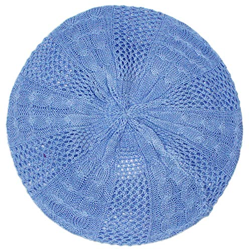 - Ted and Jack - Lightweight Knit Slouchy Beret (Ice Blue Cable)
