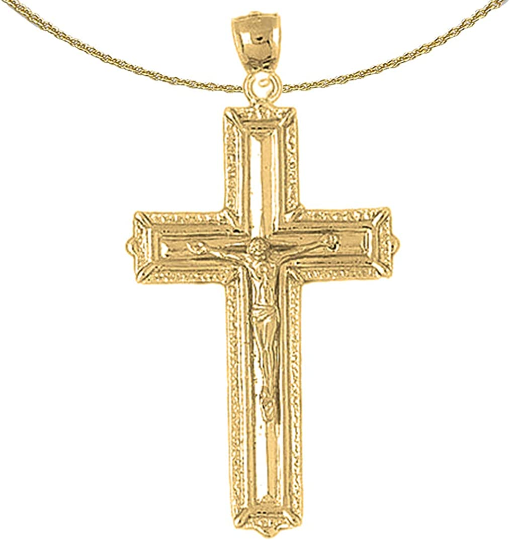 Jewels Obsession Cross Necklace 14K Yellow Gold-plated 925 Silver Latin Cross Pendant with 16 Necklace