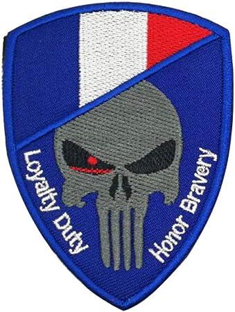Parche de bandera de Francia Molon Labe Skull bordado francés insignia banda táctica Morale Airsoft chaleco Biker emblema: Amazon.es: Hogar