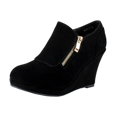 4953d0798d47 TOP Moda Rita 2 Womens Wedge Ankle Booties Black 5