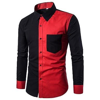 57ad233a562 Sumen Men s Button Down Dress Shirts Patchwork Color Block Casual Long  Sleeve Blouse (M