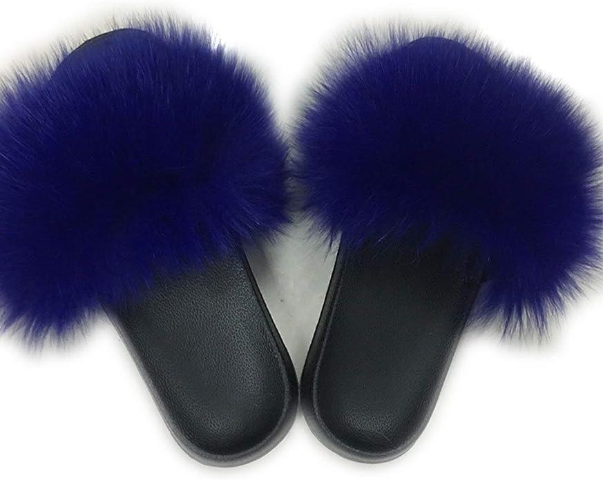 Women Fur Slippers Raccoon Fur Sandals