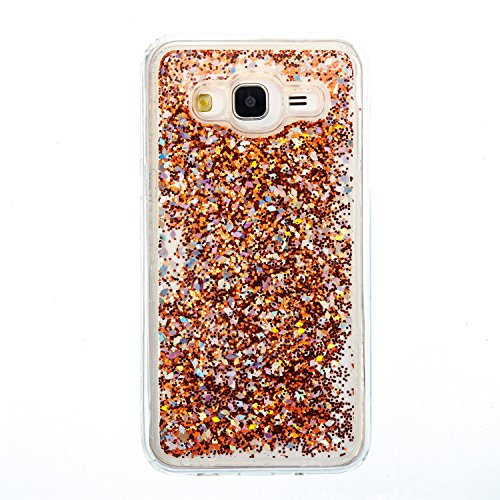 Funda Líquido Arenas Movedizas Samsung Galaxy J5 2015, 5.0 pulgadas, Cáscara Samsung Galaxy J5 2015, Alfort Casco de Protección TPU Material de la TPU de Alta Calidad Diseño de Moda Cáscara Claro Cris Oro