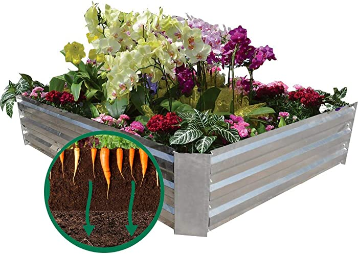 MI0512 2 Installation Dimension Raised Garden Beds Box for Vegetables Galvanized Steel Planter Box for Flowers, Herbs, Fruits, Outdoor Patio Frame(4ftx4ftx8in or 6ftx2ftx8in)