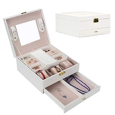 GoMaihe Caja Joyero, Estuche de Joyas, Joyeros Mujer Joyero, Joyero de Viaje, Pendientes Joyero para Collares Anillos Jewelry Box, Blanco