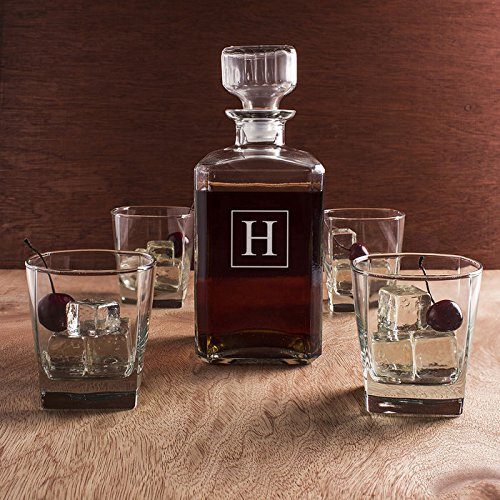 Glass Whiskey Decanter and Glasses / 5-Piece Set / Monogram Initial / Engraved / Decanter 9 x 3.5 / 34-oz / Clear Glass / Housewarming Gift / Groomsman Gift / Bulk Discounts Available by Decanter Set
