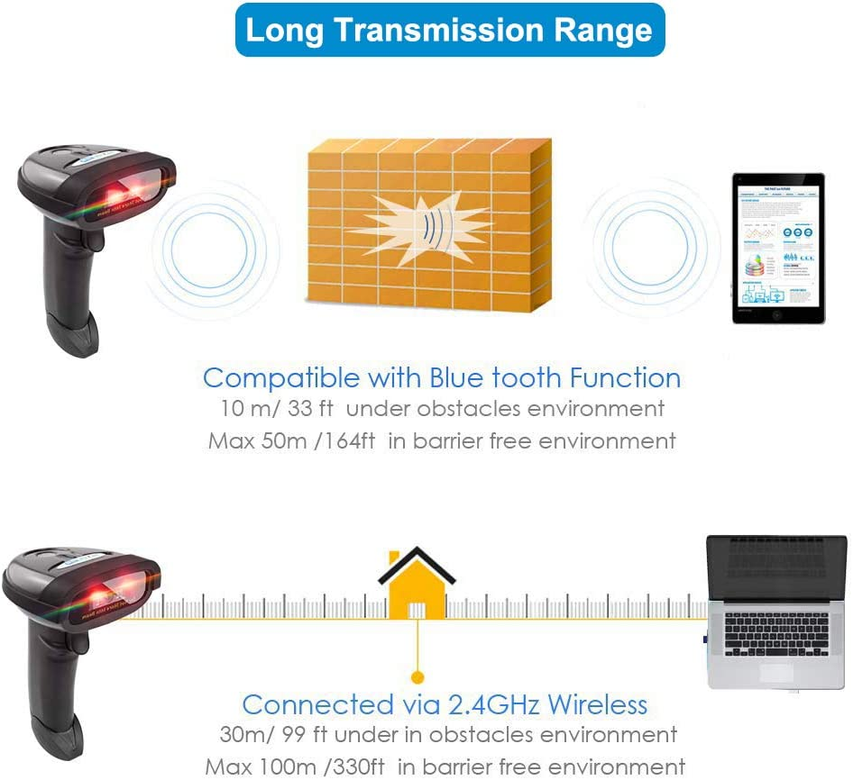 NT-1228BC Bluetooth CCD Barcode Scanner Handheld USB Wireless 1D CCD bar Codes Imager for Mobile Payment Computer Screen Scan Support iOS /& Android