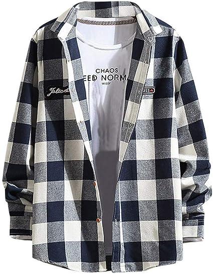 ZODOF camisa hombre camisas sport Manga Larga Impresión de Celosía Slim Fit Solapa con Botones Estilo Diario Slim Fit Camisas Blusa Tops Moda para hombre(L,Azul): Amazon.es: Instrumentos musicales