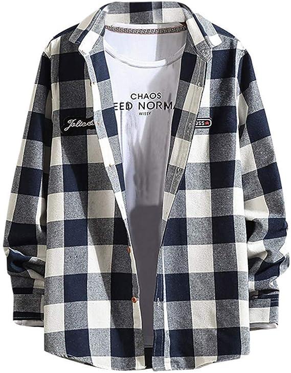 ZODOF camisa hombre camisas sport Manga Larga Impresión de Celosía Slim Fit Solapa con Botones Estilo Diario Slim Fit Camisas Blusa Tops Moda para hombre(XL,Azul): Amazon.es: Instrumentos musicales