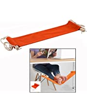 Itian Portable Adjustable Mini Feet Hammock Desk Foot Rest for Home and Office Desk (Orange)