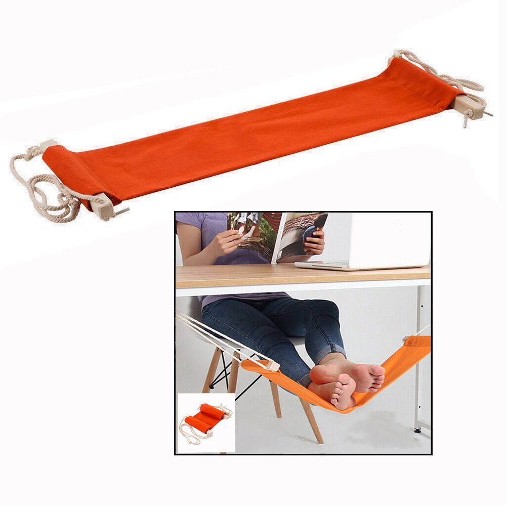 Itian Portable Adjustable Mini Feet Hammock Desk Foot Rest for Home and Office Desk