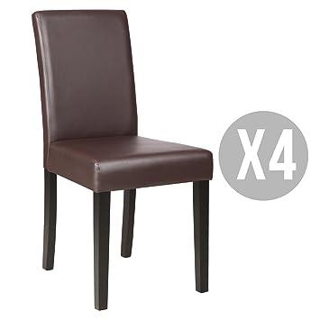 Kitchen Dinette Dining Room Chair Elegant Design Leather BackrestSet Of 4Brown