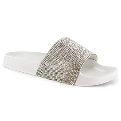4943d4896 SUGAR ISLAND Celebrity Style Ladies Womens Glitter Diamante Flip Flop  Sliders Plain Slippers Mules: Amazon.co.uk: Shoes & Bags