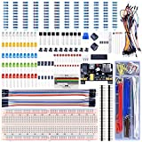 UNIROI Upgraded Electronic Fun Kit for Arduino with PNP S8550, Resistance Card, Power Supply Module, Breadboard, Free Tutorials (400 Items) UA001 (Updated Arduino Kit)