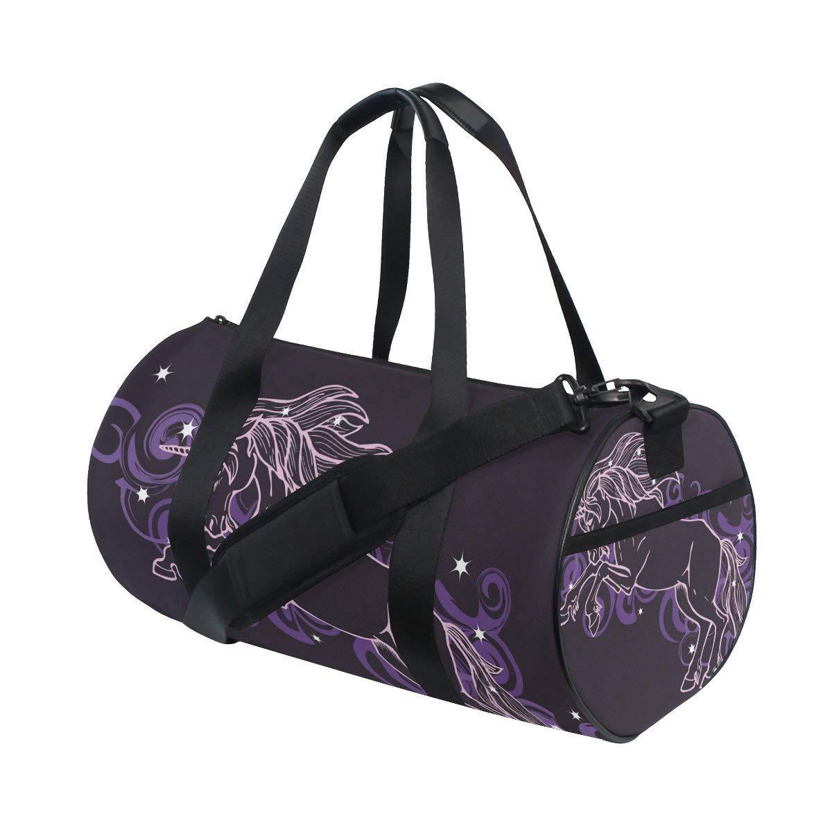 Gym Duffel Bag Unicorn Star Cloud Sports Lightweight Canvas Travel Luggage Bag