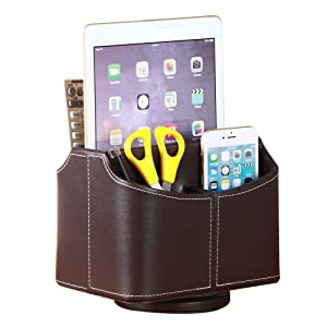 Remote Control Holder PU Leather 360 Degrees Rotatable Desktop Supply Organizer Storage Box for Controllers Media Stationery Nightstand TV Caddy E-reader iPad Phone Pen/Pencil Cosmetic(Brown)