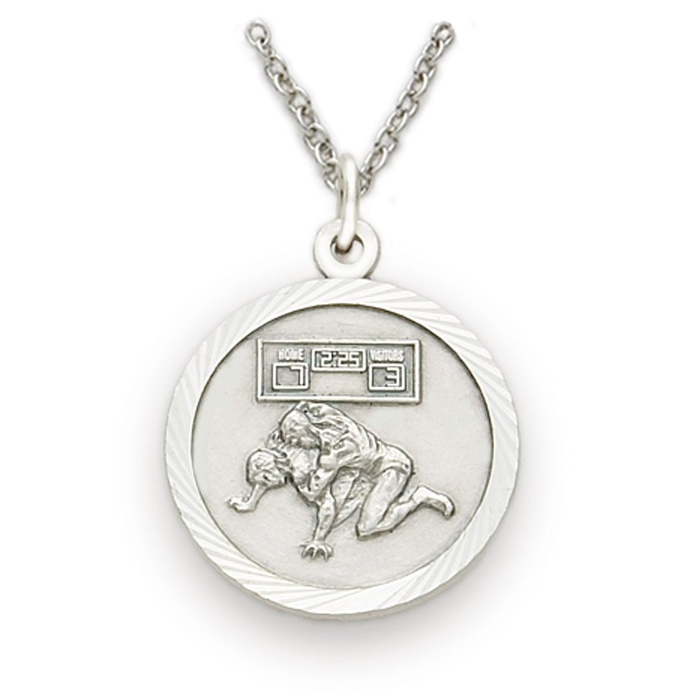 Sterling Silver Wrestling Sports Medal with Christ Cross Back, 3/4 Inch by TrueFaithJewelry