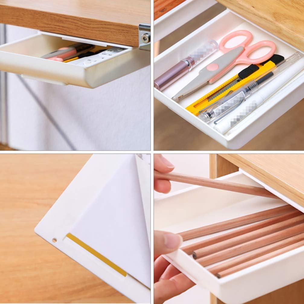 Cabilock unter Schreibtisch Organizer Versteckt Selbstklebend unter Tischschublade Gro/ße Kapazit/ät Stanzfrei unter Tisch Schreibtisch Schublade Organizer Halter Aufbewahrungsbox Ausziehbar