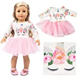 "American Girl Doll Unicorn Clothes Outfit Pajamas 18 Inch Unicorn American Girl Doll Clothes and Accessories for 18"" American Girls Dolls Clothes , My Life Doll Clothes Baby Journey Girls Accessories"