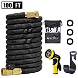 Lifecolor 100ft Expanding Hose Stretch Hosepipe, 9 Functions Sprayer,Strongest Expandable Garden Hose With Double Latex Core, Solid Brass Connector and Extra Strength Fabric for Car Garden Hose Nozzle