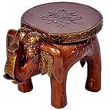 Surya Art Gallery Designer Wooden Elephant Stool Handicraft (17.78 cm x 12.7 cm x 24.13 cm,)
