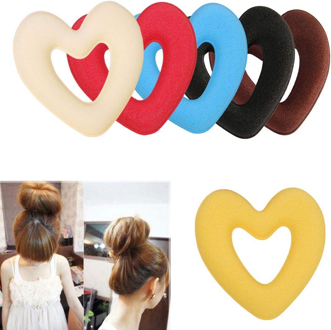 Jasnyfall Women Girls Sponge Hair Bun Maker Ring Donut Shape Hairband Styler Tool Magic Hair Styling Bun Maker Hair Band Accessories black