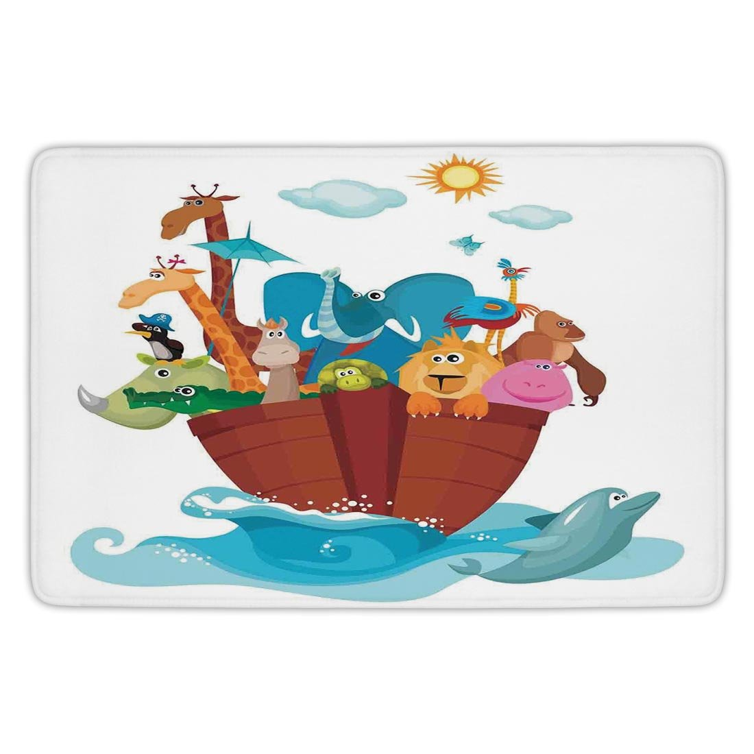 Bathroom Bath Rug Kitchen Floor Mat Carpet,Religious,Colorful Ark Ship with Set of Animals Old Ancient Religious Myths Artwork Print,Multicolor,Flannel Microfiber Non-slip Soft Absorbent