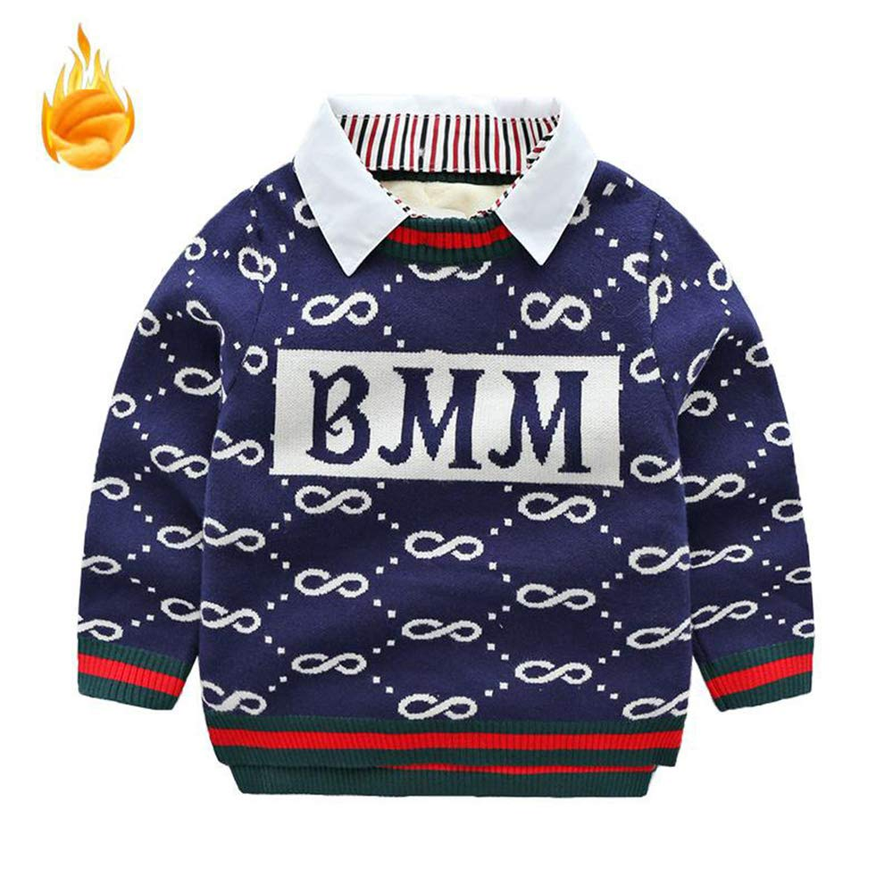 MZjJPN 2018 Winter Pullover Sweater Warm Turn-Down Collar Thicken Boys Sweaters Kids