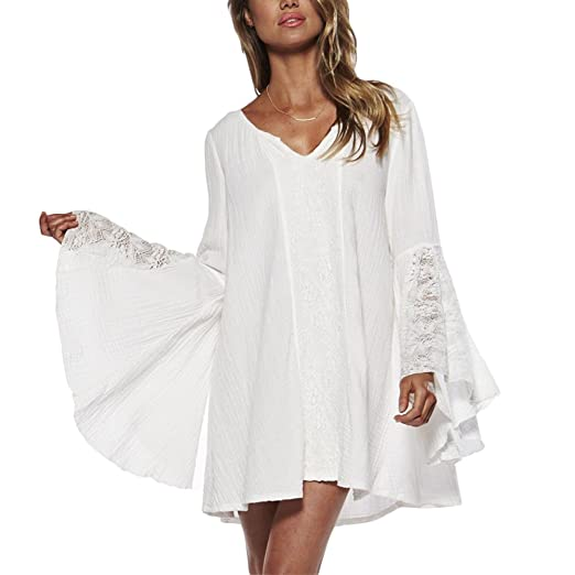 6b661ffb018 Ccdyrl Women Vintage Boho Bell Sleeves V Neck Festival Holiday Lace Mini  Dress(white