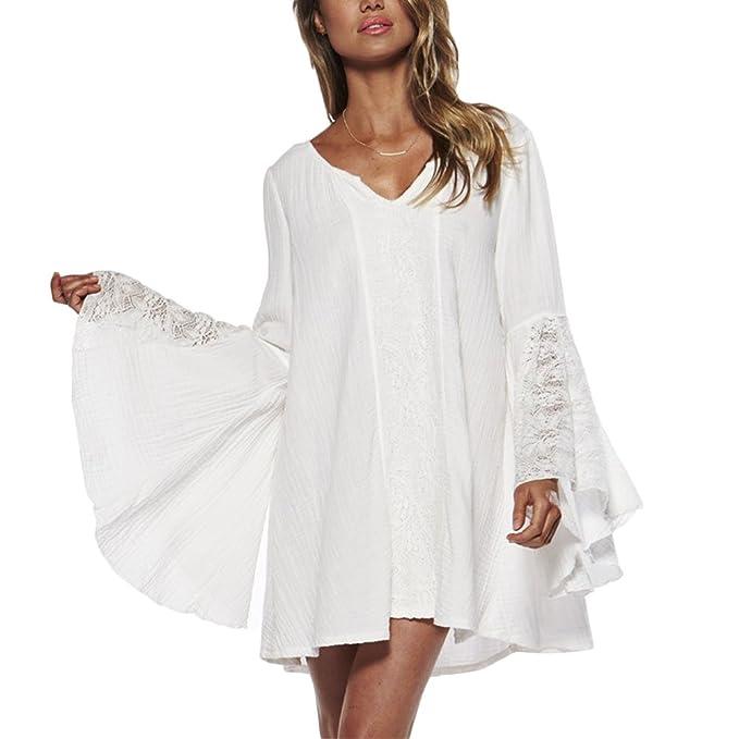 3b0d470fc7212b Verypoppa Women s Vintage Blouse V Neck Bell Long Sleeve Sheer Lace Shirts  Mini Dress (US